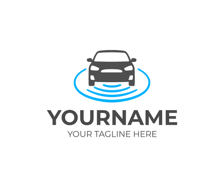 Self-driving vehicle logo design. Autonomous car vector design. Driverless car logotype