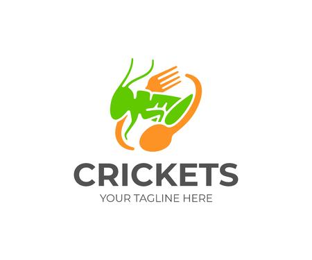 Cricket-Essen-Logo-Design. Vektordesign für die Cricket-Landwirtschaft. Logo von Heuschrecke, Gabel und Löffel Logo