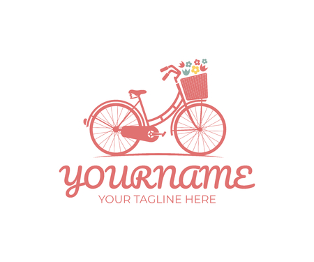 Retro bike with basket and flowers, logo design. Bicycle, cycle or velocipede, vector design and illustration