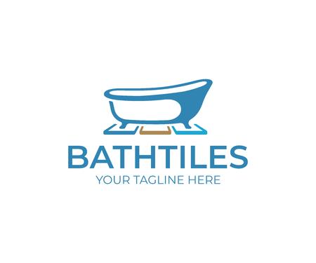Création de logo de carreaux de salle de bain. Baignoire et carrelage vector design. Logotype de carreaux de céramique