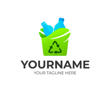 Recycling plastic bottle, logo design. Environmental protection, caring for the planet Earth and recycling, vector design and illustration