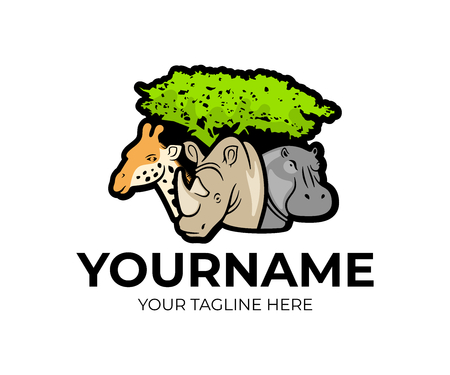 African safari, giraffe, rhino and hippopotamus under a tree, logo design. Animals, nature, national park and zoo, vector design and illustration Stock Illustratie