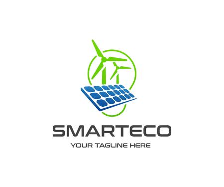 Renewable energy resources logo design. Solar panel, wind turbine and light bulb vector design. Solar solution logotype