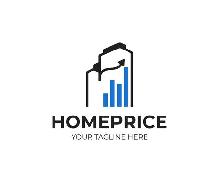 Real estate investment logo design. Housing market vector design. Buildings and graph logotype Stock Illustratie