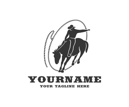 Cowboy on horseback in lasso, western and rodeo, logo design. Wild west, ranch, cattle breeding and animal husbandry, vector design and illustration Stock Illustratie