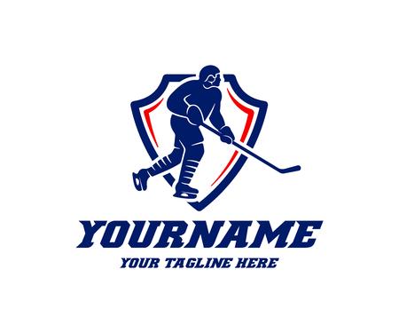 Hockey player, logo design. Hockey championship and tournament, vector design and illustration