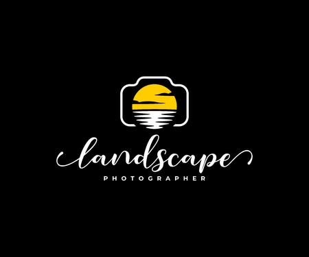 Landscape photographer logo design. Digital camera and lens in the form of sun and water vector design. Nature photographer logotype