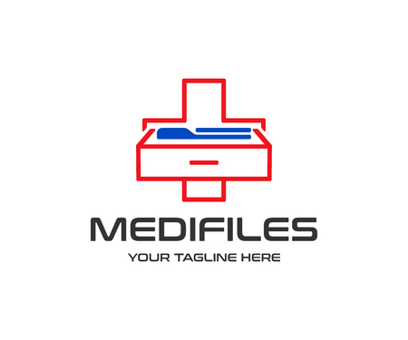 Medical information logo design. Medical record archive vector design. Medical cross with documents and folders logotype