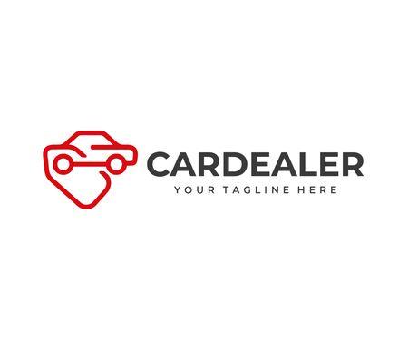 Progettazione del logo del servizio di acquisto di automobili. Disegno vettoriale di concessionaria auto. Sagoma automobilistica con logotipo di cartellino del prezzo