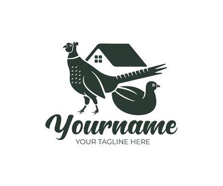 Pheasant bird, pheasant farm, logo design. Farm building and poultry yard, fowl-run, animal and pet, vector design Stock Illustratie