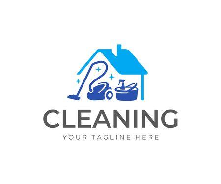 Design del logo del servizio di pulizia della casa. Casa con disegno vettoriale di aspirapolvere, secchio e prodotti per la pulizia. Logotipo delle pulizie di primavera Logo
