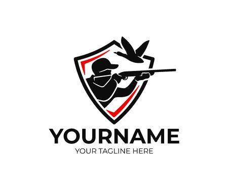Cacciatore in scudo, spara in anatra volante, design del logo. L'uomo caccia gli uccelli acquatici