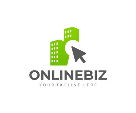Online house rent logo design. Selling and buying property online vector design. Real estate agency logotype 일러스트