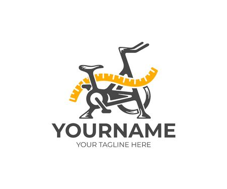 Exercise bike and measuring tape, fitness and dieting, logo design. Gym, sport, tape measure and diet, vector design and illustration