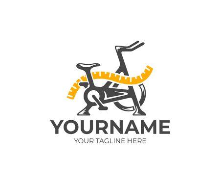 Vélo d'appartement et ruban à mesurer, fitness et régime, création de logo. Gym, sport, ruban à mesurer et alimentation, conception et illustration vectorielles Logo
