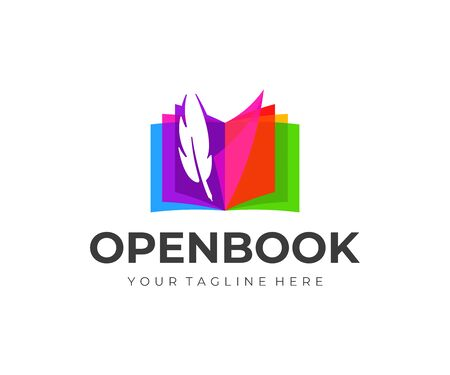 Colorful open book with feather pen  design. Fountain pen and book pages of vector design. 일러스트