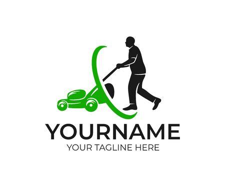Grasmaaier man en grasmaaier, logo ontwerp. Landschapsontwerp en tuinieren Logo