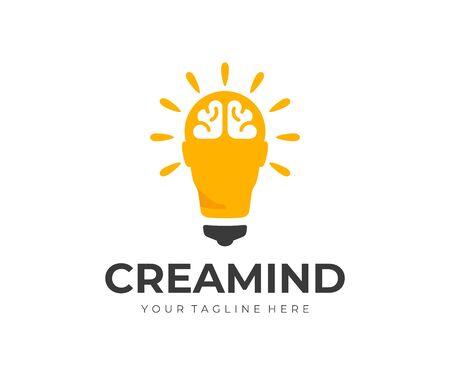 Creative idea logo design. Human head as light bulb vector design. Smart human head with brain logotype Stock Illustratie