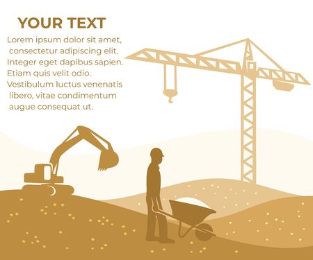 Construction, building and constructing, banner with your text. Tower crane, excavator and builder with a wheelbarrow, vector design and illustration