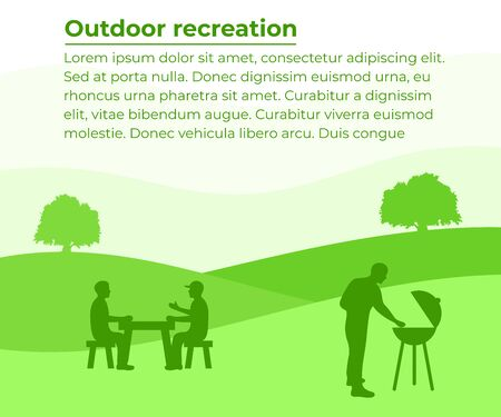 Outdoor recreation, barbecue and grill, banner with your text. Group of people resting on nature