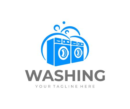 Commercial laundry design. Washing machine vector design. 일러스트