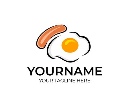 Fried eggs or scrambled eggs with sausage or frankfurter, logo design. Food and drink, breakfast, eatery and restaurant, vector design and illustration