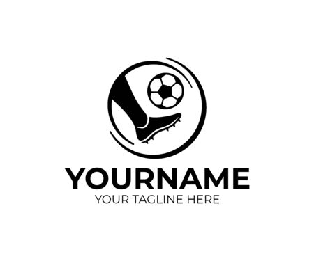 Football player kicks the ball, logo design. Soccer or football, vector design and illustration Stock Illustratie