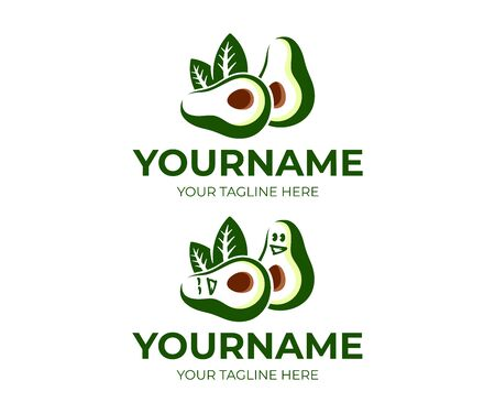 Avocado fruit and avocado cartoon character, logo design. Food, eating and vegetarian meal