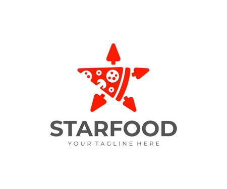 Star shaped pizza slice logo design. Pizza delivery vector design. Pizza slice with arrows logotype Фото со стока - 129133048