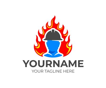 Fireman or firefighter in helmet comes out of flame or fire, logo design. Fire fighting and fire department, vector design and illustration