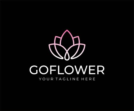 Abstract flower   design. Linear lotus vector design. Elegant water lily logotype 일러스트