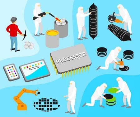 Processor or CPU, manufacturing process illustration. Technology, innovation, artificial intelligence and robotics, vector design Illustration