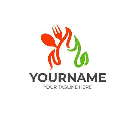 Fork, spoon, fire and leaf, logo design. Food, eatery, restaurant and catering, vector design and illustration