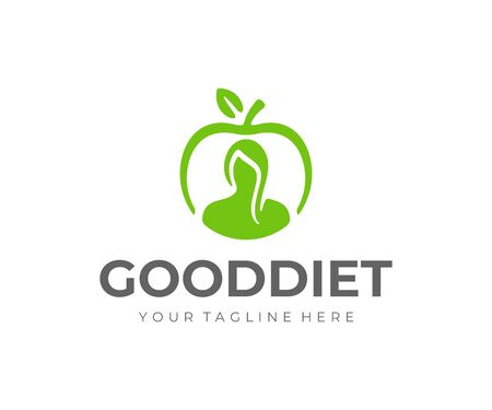 Healthy lifestyle logo design. Weight loss diet vector design. Woman and apple fruit logotype