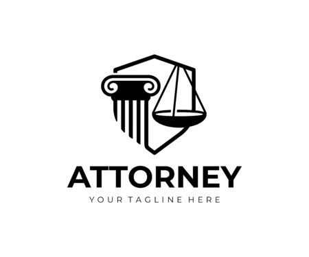 Lawyer firm logo design. Pillar, scales of justice and shield vector design. Law and justice logotype Standard-Bild - 129133100