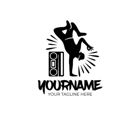 Hip hop dancer and cassette player or retro tape player, logo design. Street dances, music and art, vector design and illustration