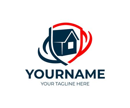 Assurance habitation, maison en bouclier, création de logo. Immobilier, propriété, protection et vente, conception et illustration vectorielles