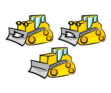 Tractor, bulldozer and dozer cartoon character, logo design. Transport, transportation, construction, earthwork and excavation, vector design and illustration