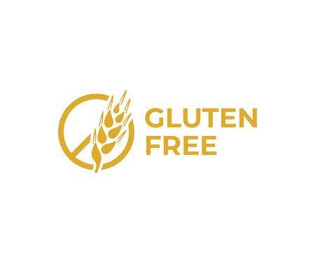 Gluten free logo design. Wheat ear vector design. No gluten logotype Ilustrace