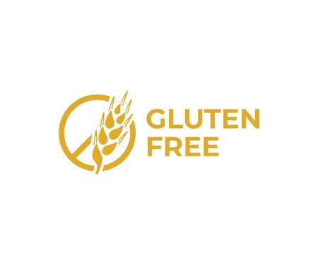 Gluten free logo design. Wheat ear vector design. No gluten logotype Illustration