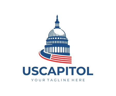 United States Capitol Building logo design. Capitol Hill Washington DC vector design. United States of America Architecture logotype