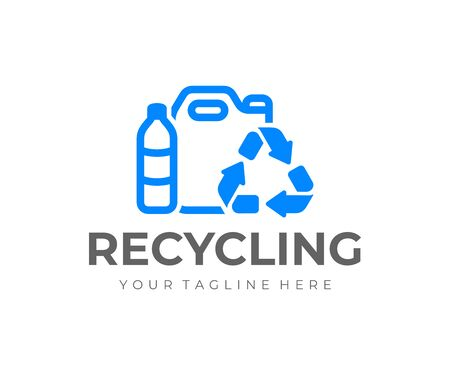 Plastic recycling logo design. Recycle plastic bottles vector design. Plastic refuse logotype 일러스트