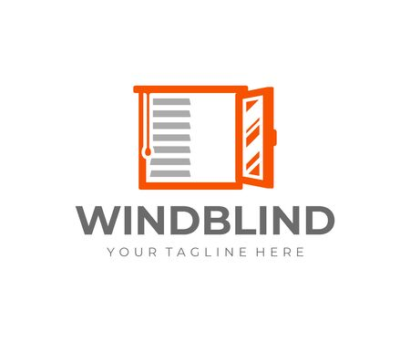 Window covering logo design. Window roller shade vector design. Window frame with horizontal striped roller blinds logotype