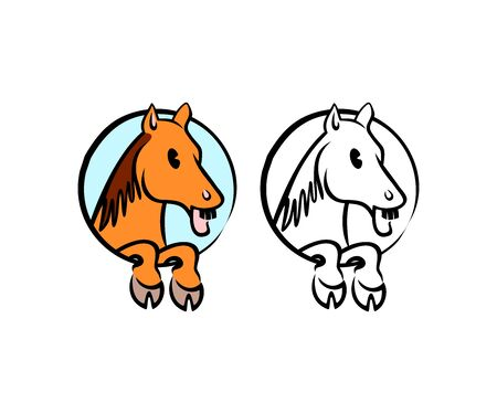 Horse cartoon character in circle, logo design. Animal, pet, hippodrome horse racing and ranch, vector design and illustration