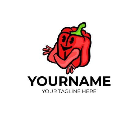 Red bell pepper cartoon character, logo design. Organic food, vegetable, vegetarian eating and dieting, vector design and illustration 일러스트