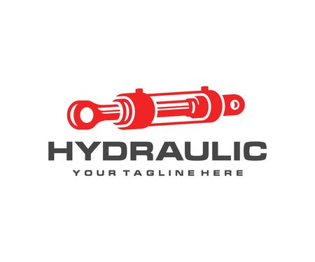 Design del logo del cilindro idraulico. Disegno vettoriale dell'ammortizzatore idraulico. Logotipo del cilindro pneumatico