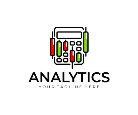 Stock market accounting logo design. Stock market graphs analysis vector design. Trading candlesticks and calculator logotype 일러스트