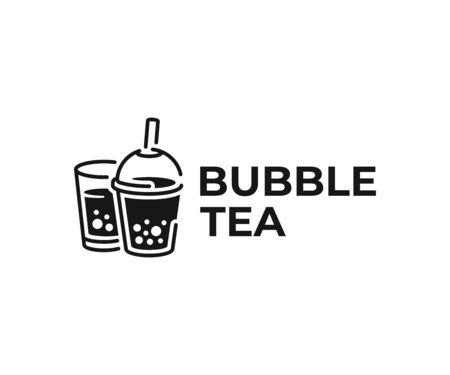 Milk bubble tea drink logo design. Beverage with tapioca balls vector design. Fruit drink and tapioca pearls logotype Ilustrace