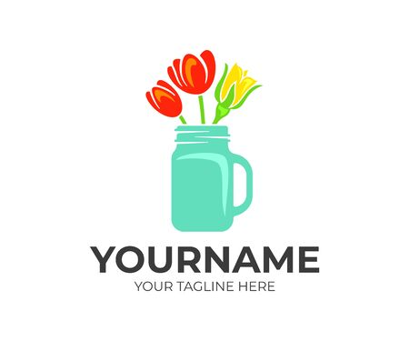 Flowers, roses and tulips in a mason jar, logo design. Floral, floristry and floristic, vector design and illustration