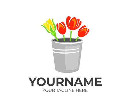 Flowers, roses and tulips in a zinc retro bucket, logo design. Floral, floristry and floristic, vector design and illustration